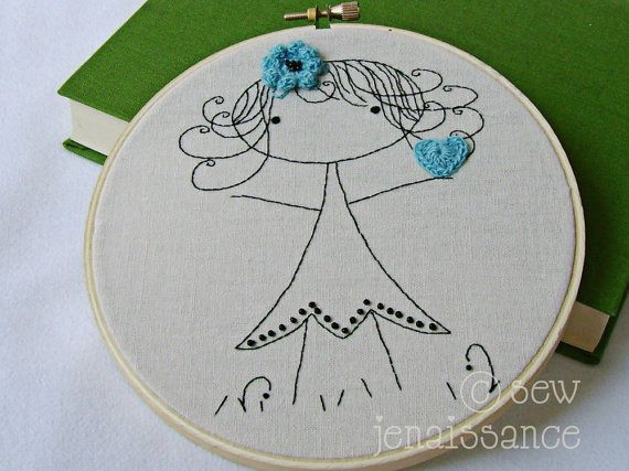 Embroidery Pattern PDF Little Girl with Heart and Flower