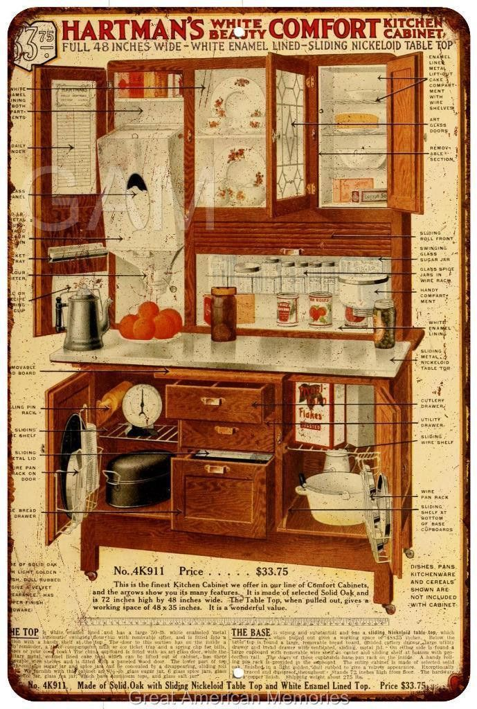 Hartman furniture hoosier cabinet vintage look for Reproduction kitchen cabinets