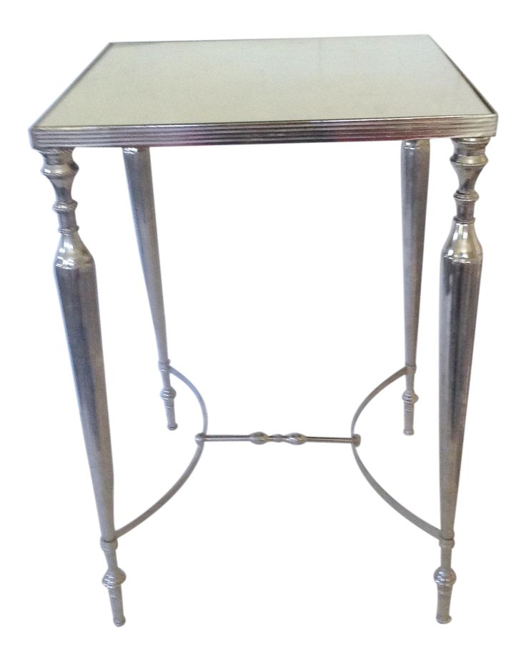 Mirror Topped Silver Side Table on Chairish.com