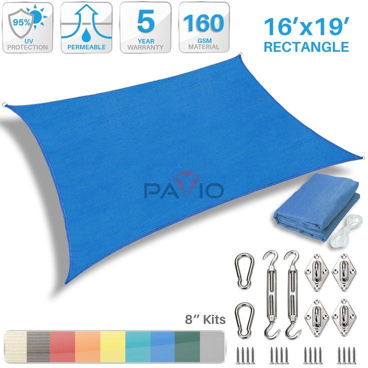 Patio Paradise 16u0027 X 19u0027 Sun Shade Sail With 8 Inch Hardware Kit,