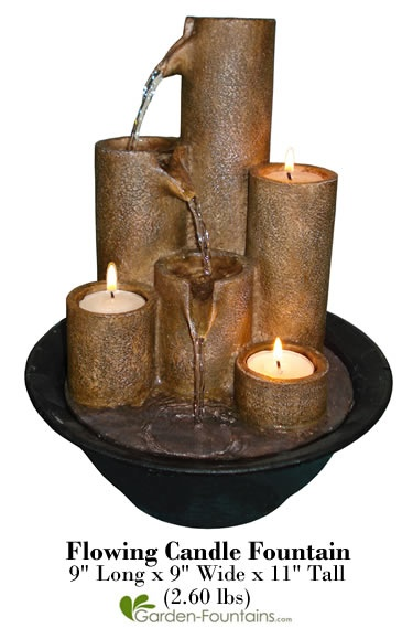 A collection of fire and water complete this tabletop fountain!