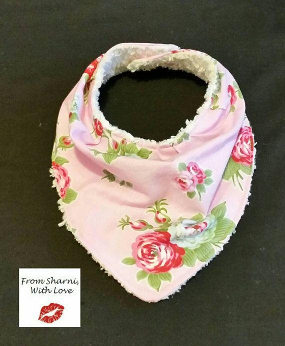 Check out this item in my Etsy shop https://www.etsy.com/au/listing/263955727/bandana-bib-dribble-bib-pink-flowers-bib