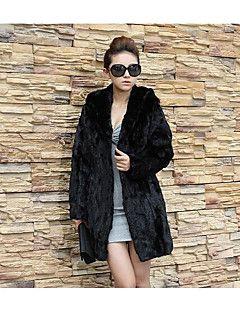 Kadın Orta Pamuklu Uzun Kollu V Yaka,Siyah Sonbahar / Kış Solid Sevimli / Sokak Şıklığı / Çin Stili Dışarı Çıkma / Kumsal / Tatil-Kadın