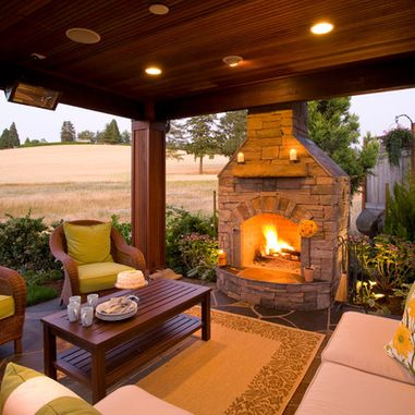 Outside Fireplace Design Ideas, Pictures, Remodel and Decor