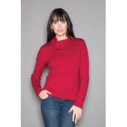 """""""Holly"""" Cowl Neck Sweater, Cranberry: Organic cotton and cashmere."""