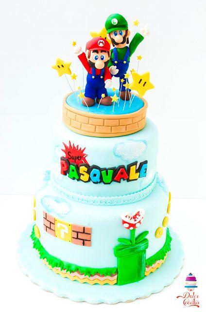 Super Mario Bros. cake with Luigi