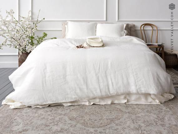 Set Of Linen Comforter Cover And Pillows In Optical White Bright White Linen Bedding Linen Doona Cover Velvet Valley Linen Bed Set Bed Linen Sets Comforter Cover Linen Comforter