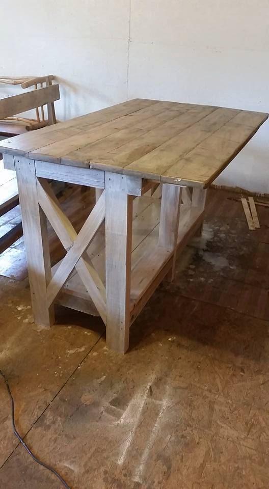 Farmhouse Kitchen Island with Reclaimed by WoodenWhaleWorkshop