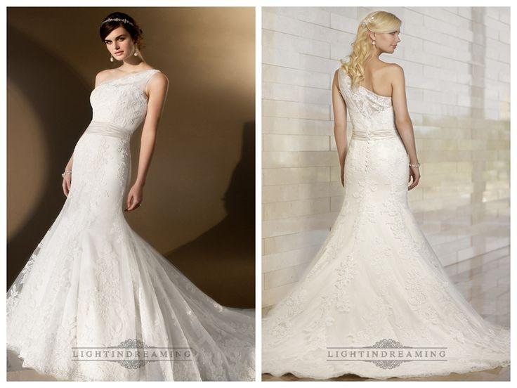 Elegant Asymmetrical One-shoulder Trumpet Lace Wedding Dresses http://www.ckdress.com/elegant-asymmetrical-oneshoulder-trumpet-lace-  wedding-dresses-p-499.html  #wedding #dresses #dress #lightindream #lightindreaming #wed #clothing   #gown #weddingdresses #dressesonline #dressonline #bride