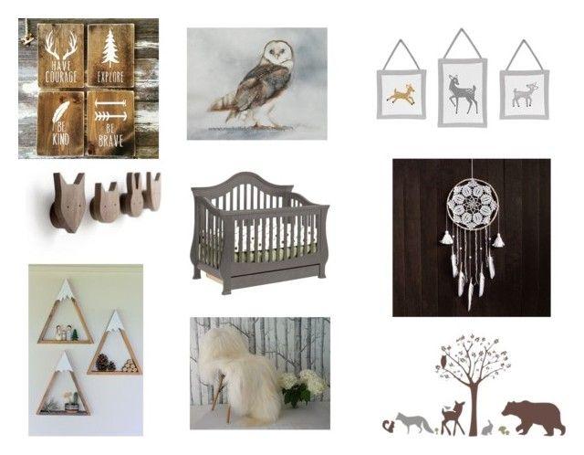 """Woodland Nursery"" by gothicvamperstein on Polyvore featuring interior, interiors, interior design, home, home decor, interior decorating, nursery, homedecor, woodland and child"