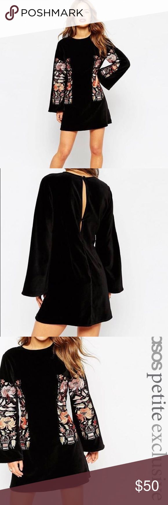 *NWT* ASOS Premium black velvet embroidered dress Premium velvet bell sleeve shift dress with open slit details on back. Beautiful embroidery detail. New with tags, size 4. ASOS Petite Dresses Long Sleeve