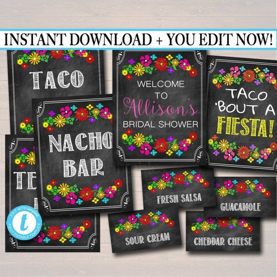 Editable Fiesta Signs, Printable Mexican Theme Party Decor, Graduation, Baby Bridal Shower, Cinco de Mayo, Taco Nacho Bar INSTANT DOWNLOAD