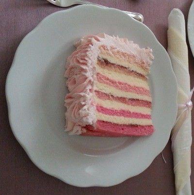 Moje Wypieki   Różowy tort z falbankami - tort dla małych księżniczek