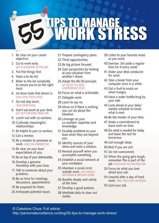 Stressed at work? 55 ways to manage it. #workplacestress #stressedout