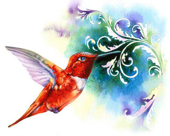 Watercolor Print, Red Hummingbird, Nectar, Feather, Birds, Home Decoration, Blue, Orange, Garden, Decorative on Etsy, $20.00