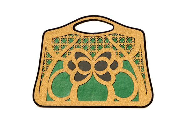 "Front of eco-friendly bag ""Farfalla"" made with recycled cork and paper, via Behance"