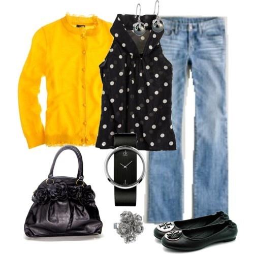 Like!Darker Jeans, Polka Dots, Style, J Crew, Yellow Sweaters, Black White, Jcrew, Yellow Cardigans, Yellow Black