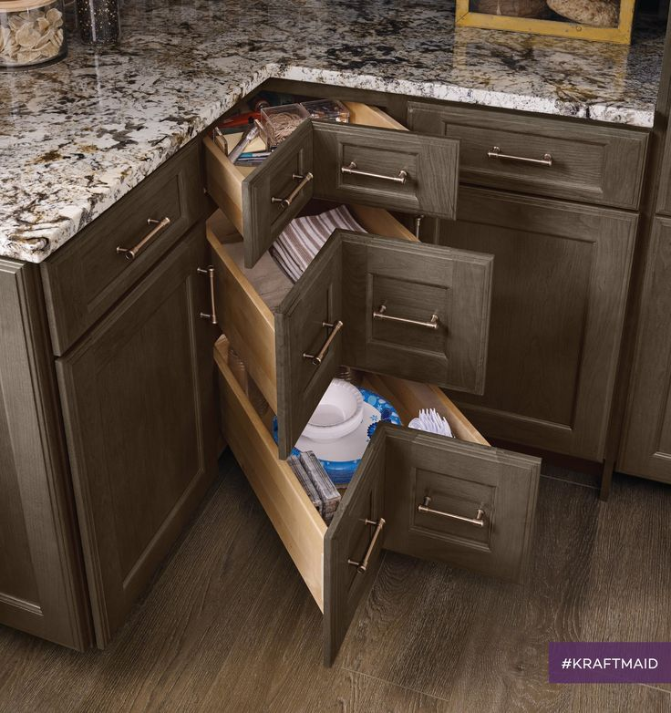 This new corner solution eliminates lost space that sometimes occurs with traditional cabinets. This drawer is paired with the Smart Space Cabinet in order to maximize usable space.