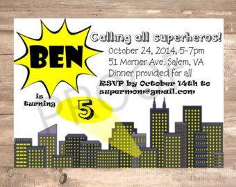 cityscape superhero spotlight calling all superheroes kid hero birthday invitation