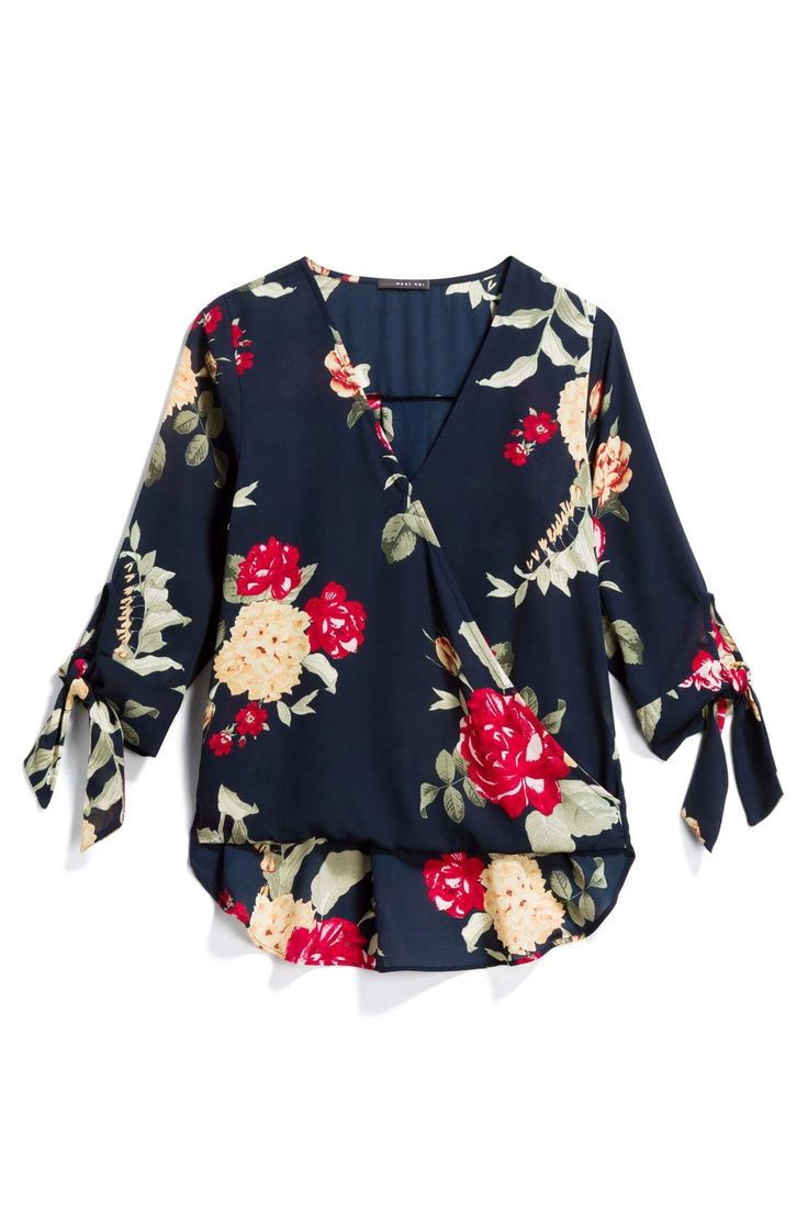This style of blouse hides my grandma tummy--especially in a flattering dark-background floral & with those adorable sleeve ties.