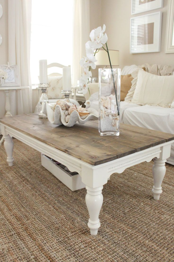 diy distressed wood top coffee table starfish cottage home decor