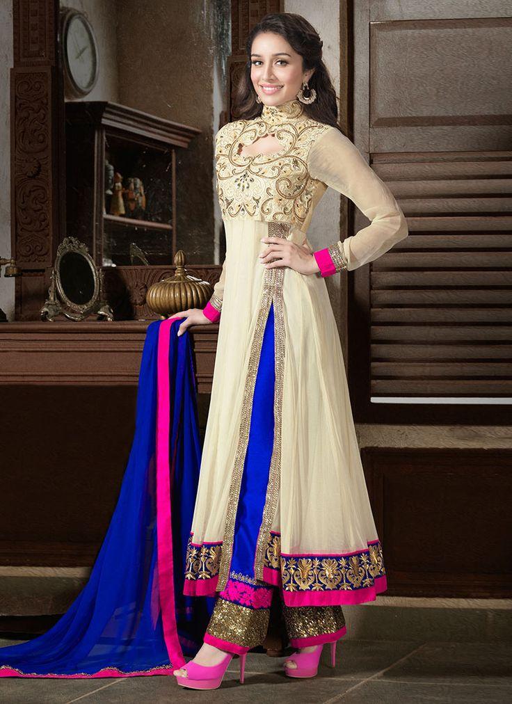 #Cream #ShraddhaKapoor Ankle Length #Anarkali