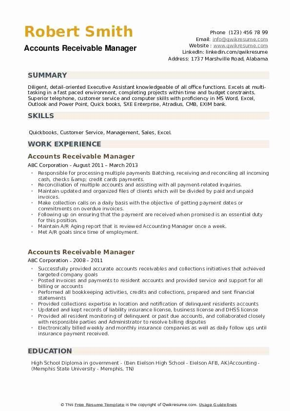 Accounts Receivable Manager Resume Unique Accounts Receivable Manager Resume Samples In 2020 Sales Resume Examples Resume Examples Manager Resume