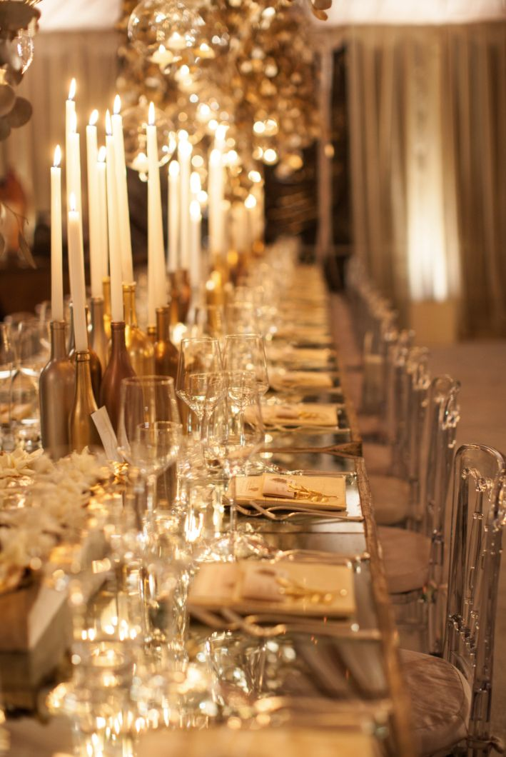 Glamorous gold wedding reception idea; Event Design: White Lilac Inc.