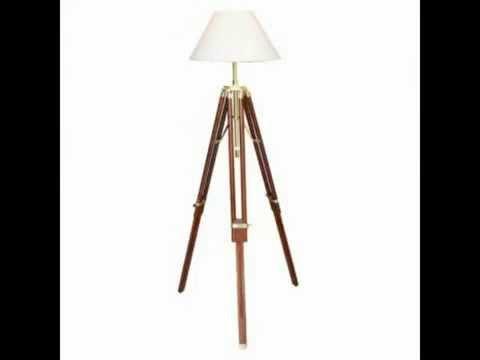 Stehlampe Stativ Lampe Schirmlampe Dreibein Höhe 146cm - YouTube