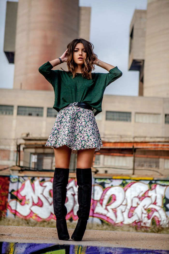 Knee high boots and swingy floral skirt. Adorable outfit for Spring.