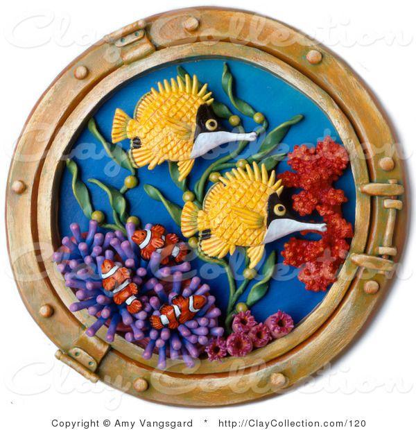 Клей Иллюстрация 3d судов окно Выглянув в Красочные рыбы коралловых рифов