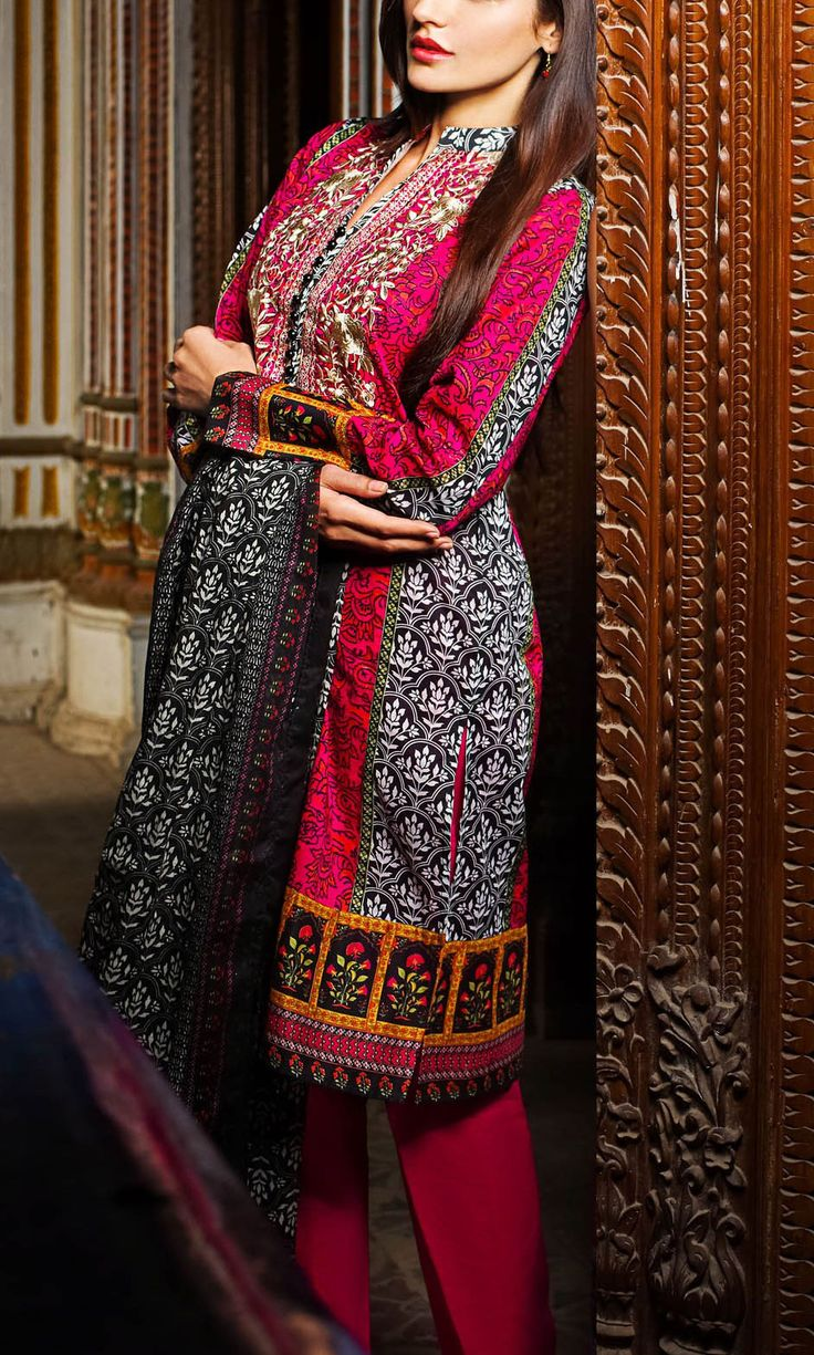 Buy Red/Black Embroidered Cotton Lawn Dress by Khaadi Lawn Collection 2015.