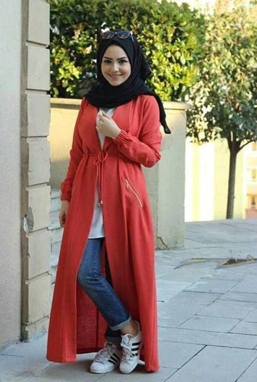 long red cardigan hijab