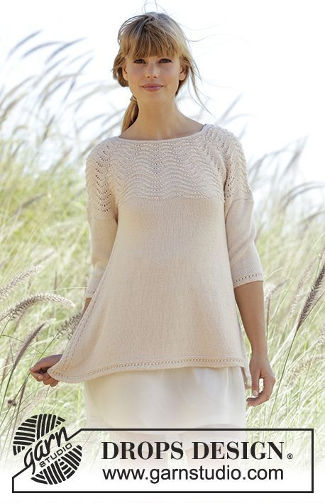 """Knitted DROPS jumper with round yoke and wave pattern in """"BabyAlpaca Silk"""". Worked top down. Free Pattern"""