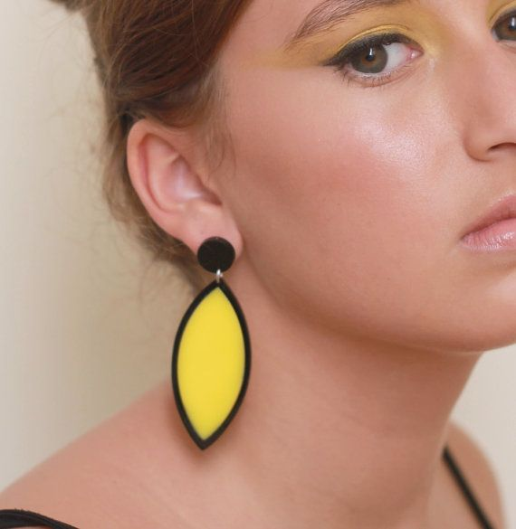 Black And Yellow Leaf Earrings - Colorful Jewelry - Bridesmaid Jewelry - Romantic Jewelry - Elegant Jewelry - Statement Jewelry  These unique leaf earrings are made from a combination of black and yellow acrylic parts, they hang on NICKEL FREE gold plated over brass earwires.  These earrings make a bold statement, yet are surprisingly lightweight and easy to wear. $65