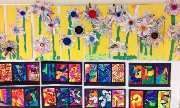 1st grade sunflowers. / 2 nd grade color families