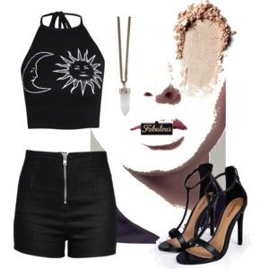 """Fabulous"" Black Outfit Sun and Moon Halter Crop Top, High Waist Black Shorts, Fabulous Clutch, Crystal Necklace, Black Strappy Sandals."