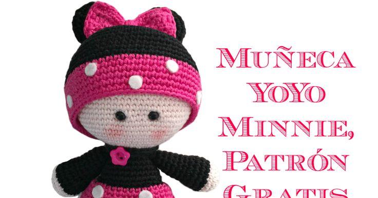 Patrón gratis para hacer una muñequita YoYo a Crochet con disfraz de Minnie.