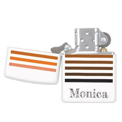 Monochrome orange striped custom zippo lighter - black gifts unique cool diy customize personalize