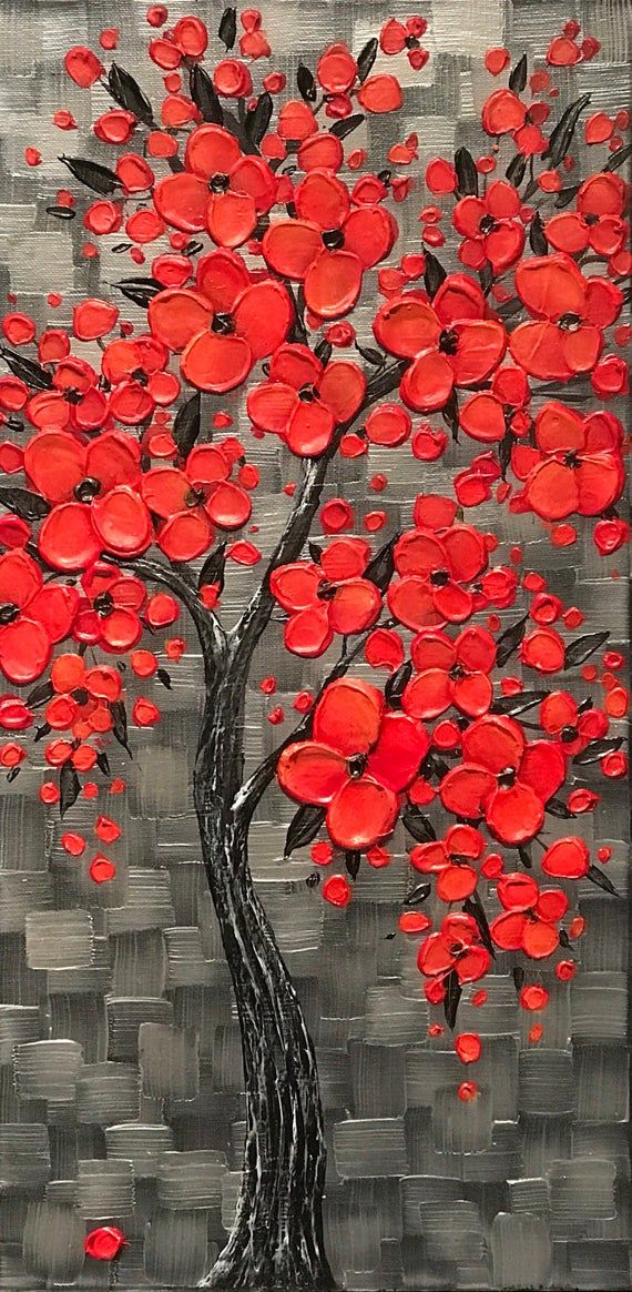 One Of A Kind Red Cherry Blossom Tree Painting For The Office Livingroom Bedroom Unique Corporate Gift In 2021 Abstract Tree Painting Tree Painting Abstract Tree