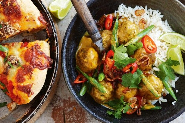 Serve tender pork and veal meatballs in Thai-style yellow curry for a hearty family meal.