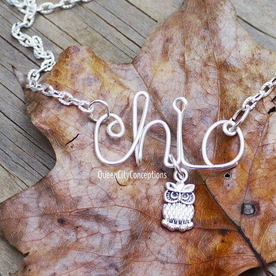 Chi-o, chi omega, alpha chi omega owl name necklace sorority greek