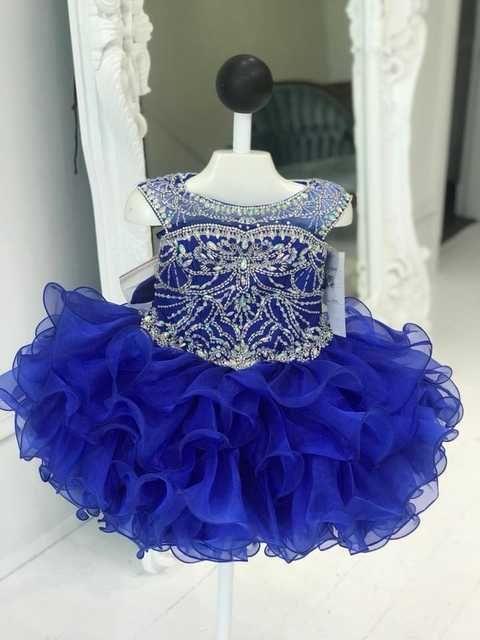 Cupcake Little Girls Pageant Dresses 2019 Royal Blue Glitz Pageant