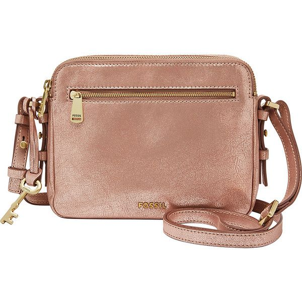 Fossil Piper Toaster Bag - Rose Gold - Crossbody Bags ($138) ❤ liked on Polyvore featuring bags, handbags, shoulder bags, metalic, fossil handbags, fossil purses, crossbody purses, beige shoulder bag and fossil crossbody