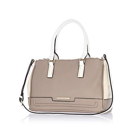 Grey contrast panel structured tote bag  £37.00