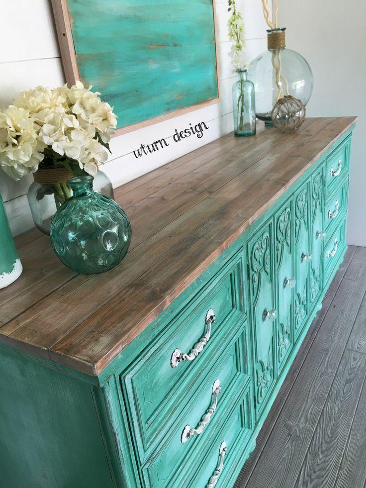 Coastal dresser with driftwood top by UTurn design