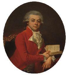 Jean-Laurent Mosnier (Paris 1743-1808 Saint-Petersbourg), Portrait d'homme en buste, portant une redingote rouge, 1789
