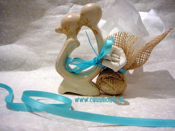 Statua Bacio con portaconfetti e fiore Dung Paper - Blu Tiffany