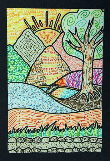 Textured landscapes using felt tip pens from stylized drawing of a simple landscape.