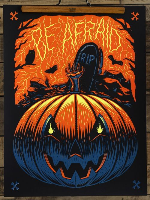 "South African artist Ian Jepson just released this great pair of Halloween-themed art prints. ""Be Afraid"" and ""Grim Reaps"" are both 18"" x 24"" glow in the dark."